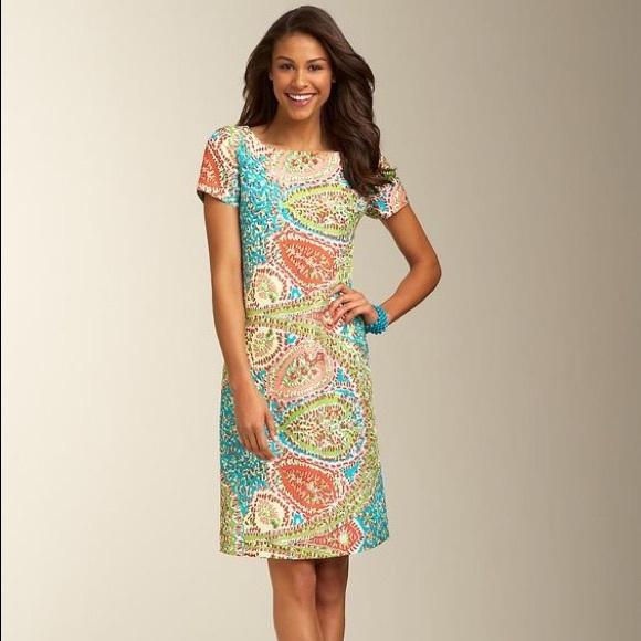 db110208f95b Talbots dress paisley geometric size 8 knee length.  M_5ae08bef84b5ce2d87560fea